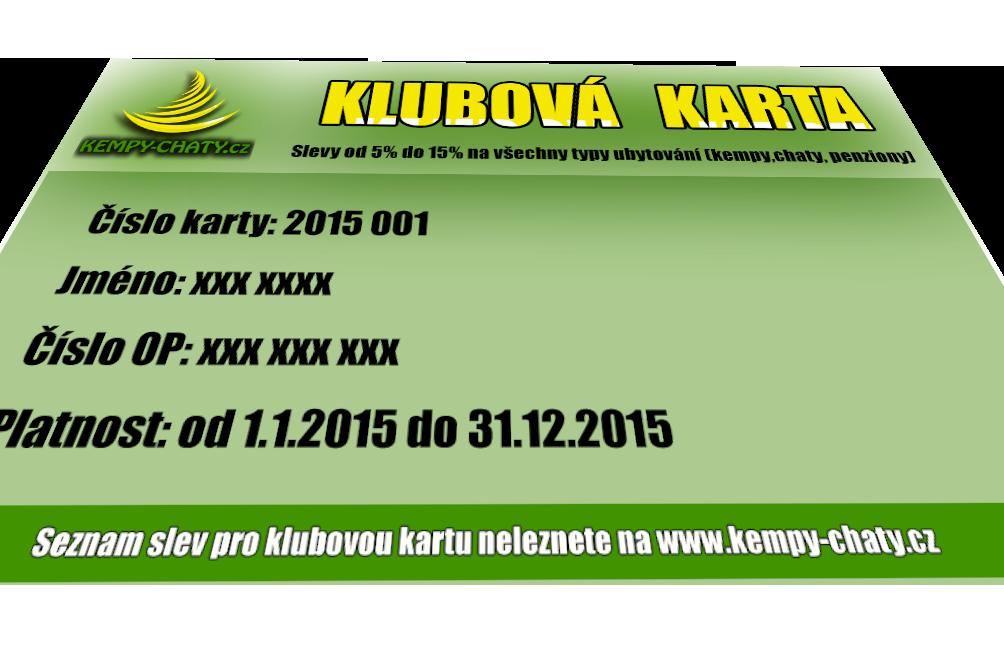 Club card Kempy-chaty.cz