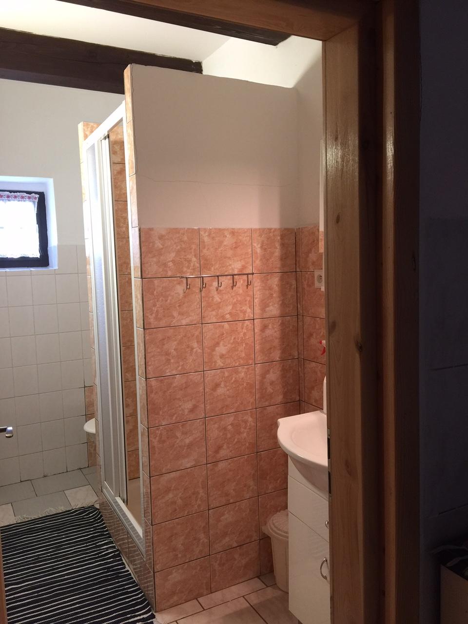 Koupelna se sprchou v apartmánu 1
