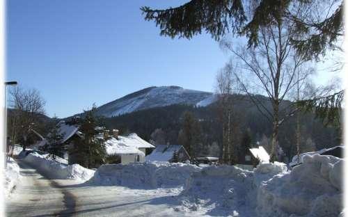 Vinter i bjergene i Harrachov, Giant Mountains
