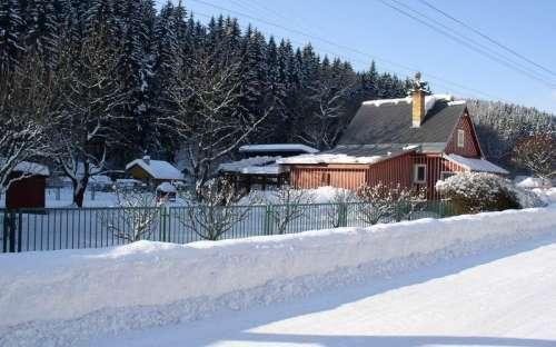 Chata v zimě Rudník