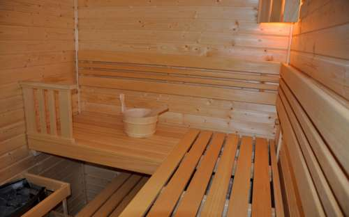 Sauna finlandais en fonctionnement