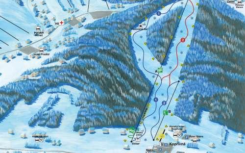 Mapa areálu - Resort Kopřivná, ski areál