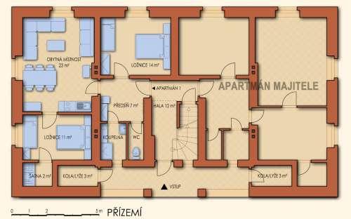 Půdorys přízemí - apartmán A
