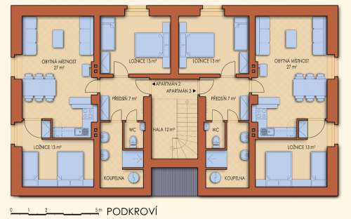 Půdorys podkroví - apartmány B a C
