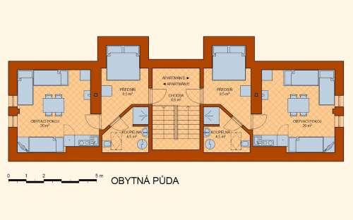 Rozkład pomieszczeń na poddaszu - apartamenty D i E
