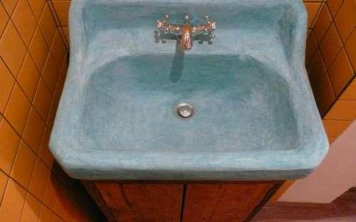 Velký apartmán -oranžový pokoj - koupelna (umyvadlo Marocký štuk)