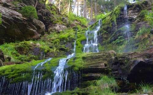 Højt vandfald, Hrubý Jeseník, Studený potok