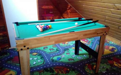 4v1 multifunctional play table: billiard table, table football, snooker and mini-ping pong
