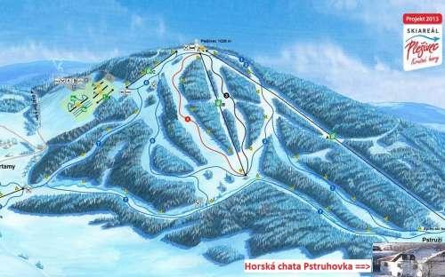 Skiareál Plešivec vzdálený 100m od horské chaty Pstruhovka.