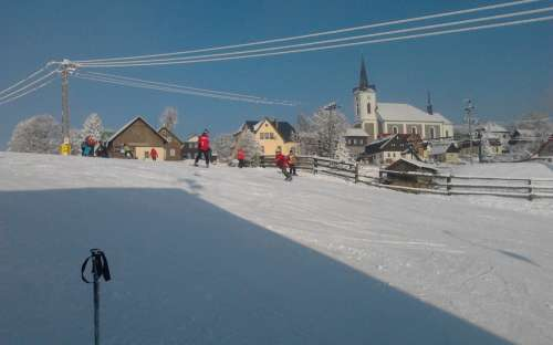 Zimní dovolená na chatě U Kostela, Liberecko