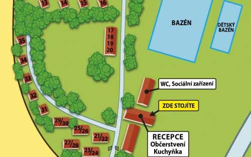Kemp Žandov - mapa areálu