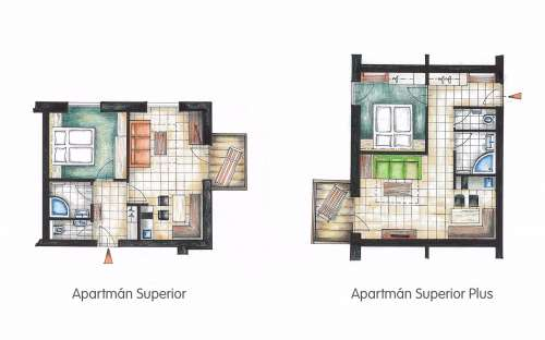 Půdorys Apartmán Superior a Superior plus