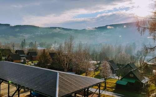 Prachtig uitzicht vanaf het pension op Praděd in Jeseníky