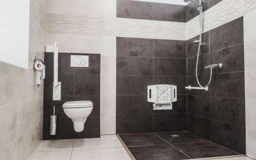 Bezbariérový superior s manželskou postelí a terasou - koupelna