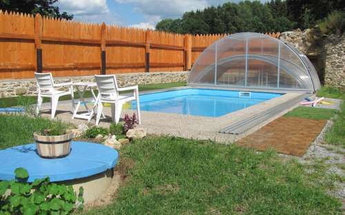 Outdoor pool with counterflow and salt water