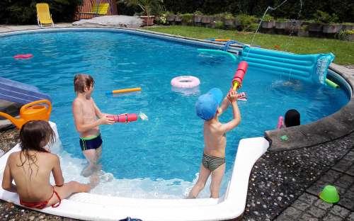 Swimming pool and children