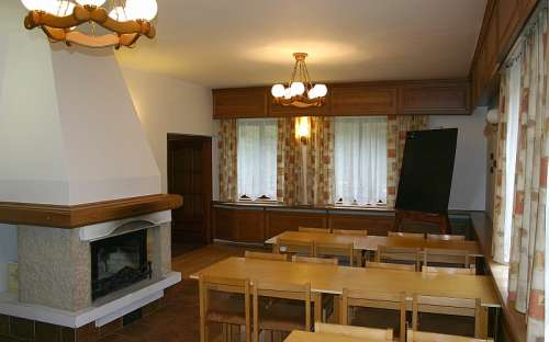 Classroom with fireplace