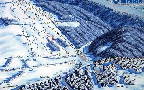 Skiareál Prkenný důl je vzálen 6 minut jízdy autem.