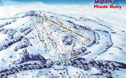 Skiareál Mladé Buky jsou vzdáleny 16 km.