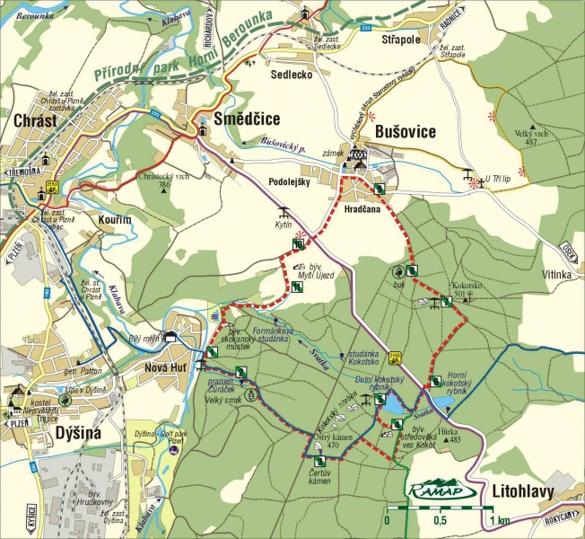 Mapa rowerowa - stawy Kokotské